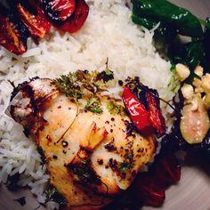 Improving my cooking skill. lemon chicken wt warm salad and basmati infused oil
