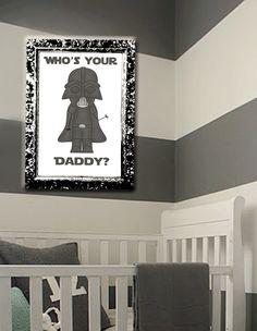 Star Wars - Kids room decor - wall art - Vader - Darth - Darth Vader - Star Wars Nursery - Grey/Gray - Customizable. $20.00, via Etsy.