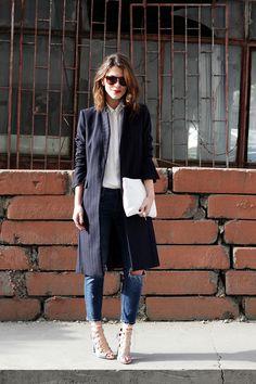 ✮Meriç Küçük (Maritsa.co) in Istanbul wearing: MANGO Shirt ZARA AW13 Coat & Shoes & Jeans – 2013 Sonbahar-Kış ZARA SS14 Clutch H&M Rings STELLA MCCARTNEY Sunglasses
