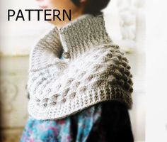 Crochet pattern poncho cape scarf winter fall by CopperLife