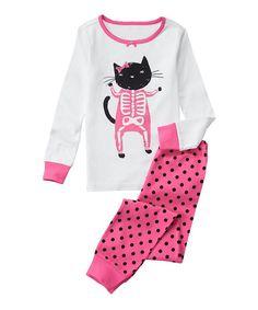 Look at this Gymboree Pink & White Cat Skeleton Pajama Set - Infant, Toddler & Girls on #zulily today!