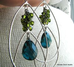 peacock chandelier | ... Crystals and Peacock Teal Blue Quartz Silver Chandelier Earrings