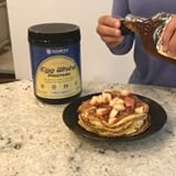 🥞EASY PROTEIN PANCAKES🥞No flour! Ingredients: 1 banana 2 eggs 1 scoop @mrm_usa french vanilla egg white protein powder (get 40% off all MRM supplements with code SIA at www.mrm-usa.com) Ingredients: In a bowl, mash banana. Crack eggs and mix well. Add in protein powder and stir. Heat a greased skilled over medium-low. Pour batter onto skillet and cook until browned on each side. Top with fresh fruit and organic maple syrup!