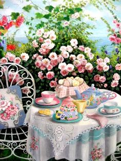 Garden teas are among my favorite subjects to paint. That's because I want to be there!