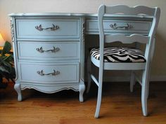 ❥ French Provincial Bed Set Painted Light Turquoise~ Love the color; we did a desk very similar to this for my daughter in a cream tone and even used a zebra print for the chair cushion! LOL ;) blue, zebra stripes, aqua chair, beauti, teenag teenagerroom, teenag room, bedroom, desk chairs, zebras