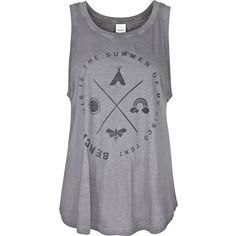 Bench Capleton vest top ($11) ❤ liked on Polyvore featuring tops, clearance, dark grey, graphic tops, woven top, graphic tank tops, bench top and scoopneck top