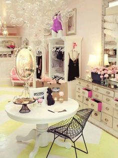 faire frou frou lingerie boutique girly feminine interior design bubble chandelier