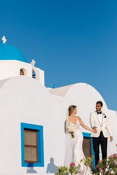 First Moments, Holding Hands, Love, Happy, Smiles, Together, White And Blue, Greece, Domes, Santorini Weddings