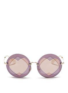 MIU MIU Cutout Heart Window Round Sunglasses. #miumiu #sunglasses #miumiusunglasses