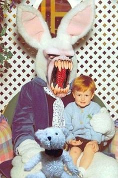 If this child grows up without any type of trauma from being forced to sit on this Easter Bunny's lap, I'd be very surprised...this is the worst of the worst!
