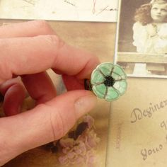 Artisan Ring Handmade Flower Cabochon Ring Ceramic by bleuluciole