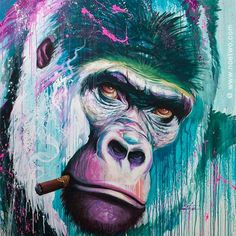 Painting : Gorillaz Alfred smoke a cigar by Noe Two. Lilies Drawing, Monkey Illustration, Graffiti, Monkey Art, Monkey Style, Cigar Art, Spray Paint Art, Wildlife Paintings, Colorful Animals