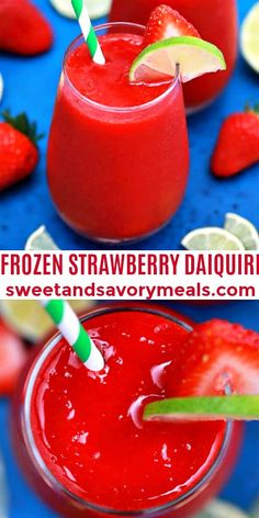 Frozen Strawberry Daiquiri tastes exquisitely beautiful during summer! Experience this cool thirst-quencher right at home with this easy recipe! #strawberries #strawberrydaiquiri #frozendaiquiri #summerdrinks #sweetandsavorymeals Vegan Recipes Easy, Easy Dinner Recipes, Sweet Recipes, Easy Meals, Frozen Strawberry Daiquiri, Frozen Strawberries, Easy Cooking, Cooking Recipes, Budget Cooking