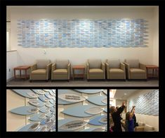 Entry: Best Donor Recognition Solution. Whittingham Cancer Center. Norwalk, CT. ASI, New England The client asked that ASI design an artistic donor wall for their new Cancer Center. ASI provided a custom modular solution acknowledging five levels of giving.  Donation levels are distinguished by changes in size and color of the graphic panels as well as varying font size of the recognition text. The donor wall can be updated in the field to support the foundation's on-going campaign.