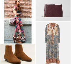 El vestido es de Zara y cuesta 59.95 euros; los botines, son de Mango (39.99 euors) y el bolso, de Bershka (12.99 euros). Look Boho, Manga, Riding Boots, Shoes, Fashion, Costume Dress, Black Dots, Runway, Moda