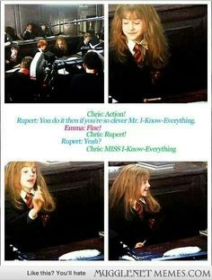 Rupert, much like Ron, has struggled to realize Hermione is a girl