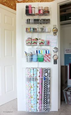 Hi Sugarplum Organized Craft & Gift Wrap Great idea to use the back of doors for organization Organisation Hacks, Organization Station, Craft Organization, Organizing Ideas, Hall Closet Organization, Organization Ideas For The Home, Organize Craft Closet, Craft Room Ideas For The Home, Organized Craft Rooms