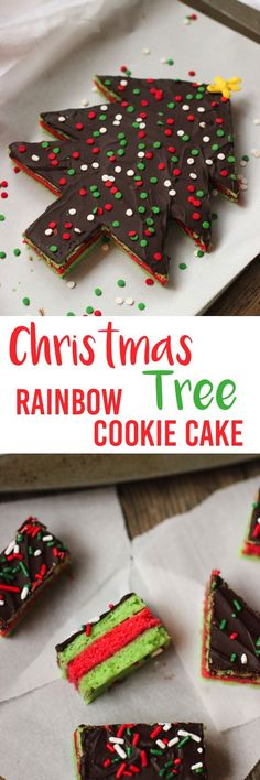 Impress your holiday guests with this Christmas tree rainbow cookie cake! Spongy almond-flavored cookie layers are joined by raspberry jam and covered in a chocolate coating - all cut into a Christmas tree shape! Cut the scraps into traditionally sized rainbow cookies and you have a dessert to feed a crowd!