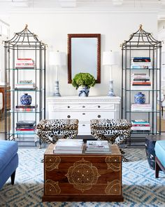 Using symmetry to display matching pairs is always a great interior design idea!