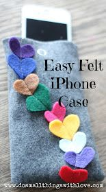 Small Things: EASY felt iPhone Case for Valentines Day - would be cute for other types of bags too