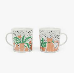 "Individual Medley | Cat Still Life Mug |  Few things more peaceful than a scene involving plants, books, and a cat.   Each mug sold separately.   -Measures 3.75""W x 4.75""H - -Holds 12 oz - -Porcelain - -Dishwasher safe"