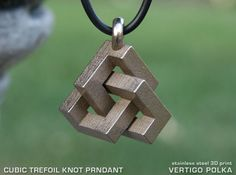 Check out Cubic Trefoil Knot Pendant by vertigopolka on Shapeways and discover more 3D printed products in Pendants.