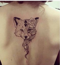 Image de tattoo, fox, and rose