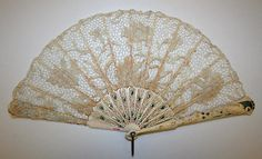 1897-1905, Belgium - Fan - Ivory, linen, enamel