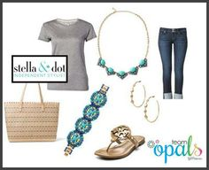 Spring is coming... How about this cute combo, with gorgeous Tory Burch sandals and our new Stella & Dot Rory Necklace in blue. Love it, so easy and so chic!