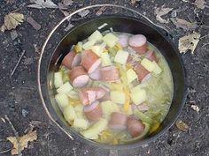 dutch kielbasa dutch oven recipe - kielbasa or smoked sausage, bell peppers, onions, pineapple