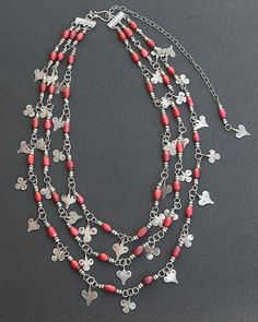 Antique Sahrawi Pendants, Red Venetian White Heart Beads and Sterling Silver Necklace