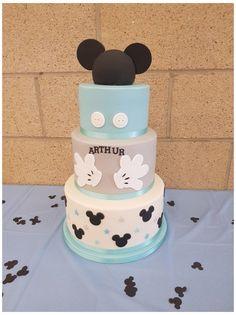 Mickey Mouse Torte, Festa Mickey Baby, Mickey Mouse Birthday Cake, Mickey Cakes, Mickey Party, Minnie Mouse, Elmo Party, Dinosaur Party, Mickey First Birthday