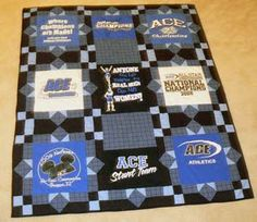 Our T-Shirt quilts photo gallery offers lots of inspiration to help you design a quilt of your very own. Includes a link to T-shirt quilt instructions.: Cheerleading T-Shirt Quilt