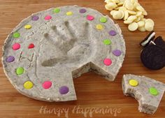 "Edible cookies and cream ""concrete"" hand print craft"