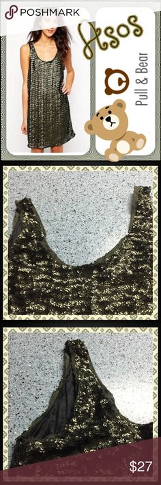 ASOS sequin dress Pull & Bear, sz M, gorgeous army green sequin mini dress with deep U-open back. Raw edges and fully lined, 33in in length. Stunning ASOS Dresses