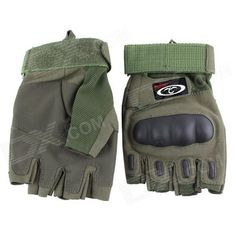 OUMILY Outdoor Tactical Half-Finger Gloves - Army Green (Size M / Pair) Price: $12.96