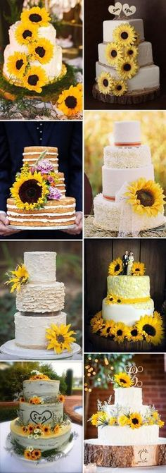 32 Orange & Yellow Fall Wedding Cakes with Maple Leaves , Pumpkins & Sunflowers by jeri