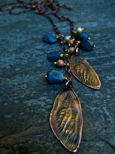 Cicada Wing Necklace/ Lariat Necklace/ Chain Lariat/ Mixed Metal Jewelry/ Handmade. $75.00, via Etsy.