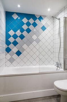 Residential - Fit Out - Apartment - Bathroom - Blue - Grey - Pattern - Sqaure Tile - Diagonal - Detail - Millennium Tower, Dublin by Think Contemporary