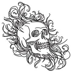 Skull in Swirls | Urban Threads: Unique and Awesome Embroidery Designs