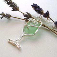 Seafoam Wine Glass Necklace, recycled wine bottle, Finger Lakes Wine, Silver $35    www.LaketoLakeJewelry.com  www.Facebook.com/LaketolakeJewelry