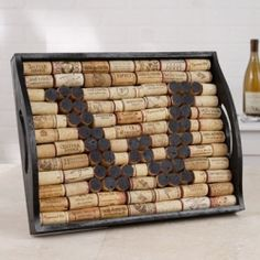 Uncork some personality with this monogram tray made with wine corks!