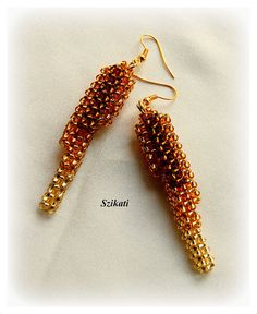 Beaded gold honey brown seed bead earrings OOAK jewelry by Szikati, $30.00