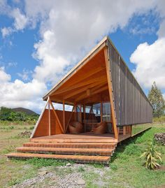 Exterior Cabana in Easter Island, Morerava Hut House, Tiny House, Cabin Design, House Design, Eco Cabin, Prefab Cabins, Easter Island, Boutique Homes, Glamping