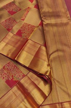Buy online Red and Golden Checks Handloom Kanjeevaram Pure Silk Saree Online.Shop more Handloom Kanjeevaram Saree at Luxurionworld.