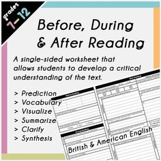 This Before, During & After Reading Graphic Organizer is a versatile resource for analysing all texts across any key learning area. With this organizer, students will make predictions about the text, visualize the events of the text, summarize the text, clarify any key terms, make tangible connections with the text, reflect on the text and then create something related to the text. All these steps will ensure your student fully comprehends the text, no matter what it may be!