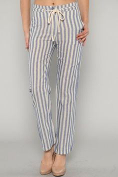 Lets Get This Straight Striped Blue Pants 37.99