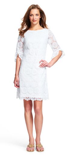 f3e32e154f85 Adrianna Papell medallion lace dress with sheer bell sleeves