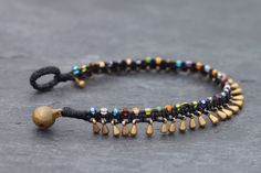 Fußkettchen und Armbänder That is the hand woven braided bracelet with black waxed wire made from br Macrame Earrings, Beaded Anklets, Macrame Jewelry, Diy Jewelry, Jewelry Accessories, Jewelry Making, Jewelry Ideas, Seed Bead Bracelets, Macrame Bracelets