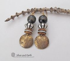 Boho Tribal Earrings Beaded Dangle Earrings, by SilverandEarth (Materials: African batik bone beads, yellow bronze ear wires, antiqued gold brass shapes, wood beads, sterling silver plated beads)
